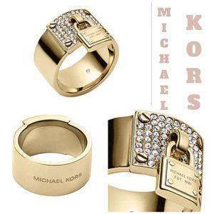 Michael Kors Goldtone Pave Crystal Padlock Ring MK